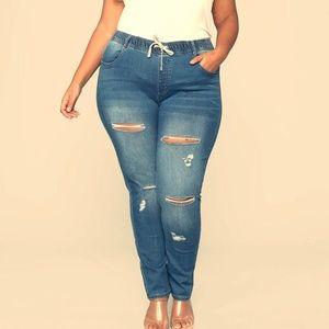 Stretch Denim Distressed Jogger Jeans
